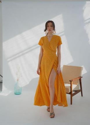 Желтое платье в пол на запах