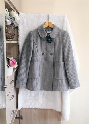 Серое двубортное пальто(полупальто) с шерстью