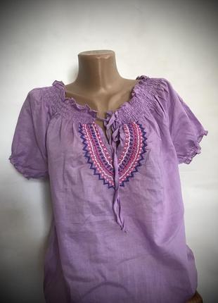 Натуральная вышитая блузка рубашка с биркой