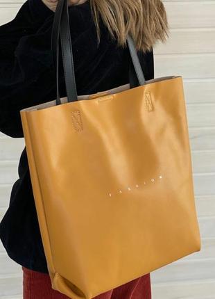 Кожаная сумка шоппер в цветах