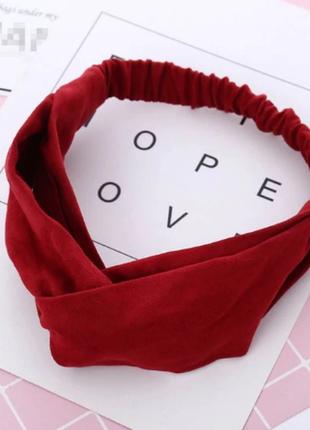 Повязка на голову чалма платок на волосы обруч узел ободок тюрбан красная