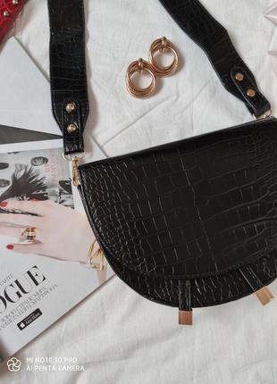 Сумка сумочка структурированная седло кросс боди винтажная с широким ремнем новая5 фото