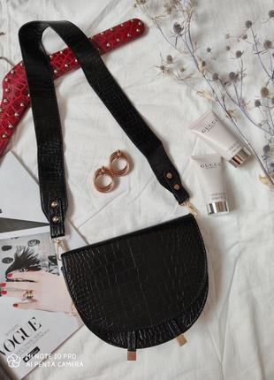 Сумка сумочка структурированная седло кросс боди винтажная с широким ремнем новая3 фото