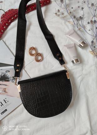 Сумка сумочка структурированная седло кросс боди винтажная с широким ремнем новая8 фото