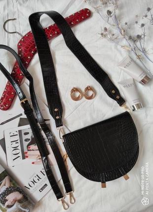 Сумка сумочка структурированная седло кросс боди винтажная с широким ремнем новая4 фото