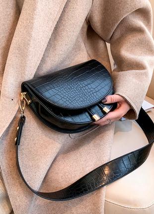 Сумка сумочка структурированная седло кросс боди винтажная с широким ремнем новая2 фото