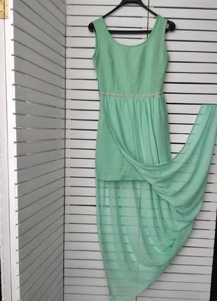 Бирюзовое длинное нарядное платье / выпускное / праздничное / короткое с шифоном /