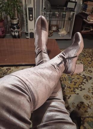Бархатные велюровые ботфорты чулки огонь, на не худые ножки 40 размер, lost.ink.