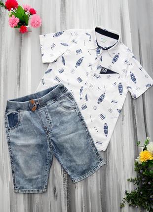 Kids рубашка + шорты zara на возраст 6-7 лет
