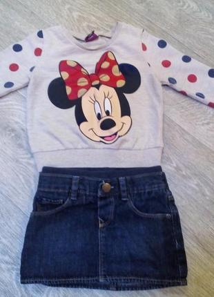 Костюм комплект реглан минни микки джинсовая юбочка юбка 1-2,5 г для девочки