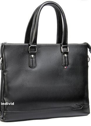 Акция! кожаный портфель bond для документов  а-4. черная мужская сумка бонд портфель офис