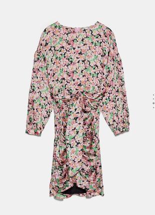 Платье цветочное принт мини со сборкой zara оригинал
