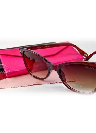 Солнцезащитные очки givenchy gv7265 кошачий глаз цвет коричневый прозрачный