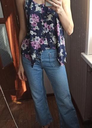 Ретро майка в цветочный принт