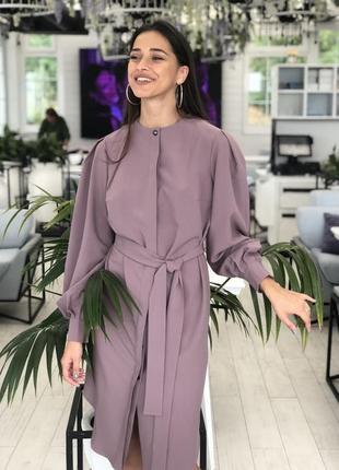 Платье с потайной застежкой на пуговицы, цвет лиловый