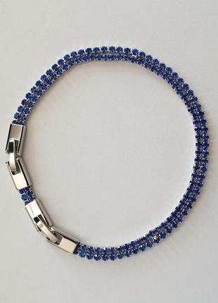 Браслет xuping со стразами, с синими камнями, позолота родий, ювелирная бижутерия8 фото