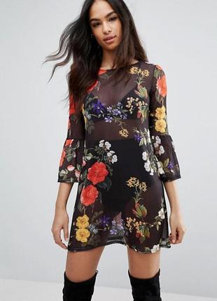 Платье сетка. платье с цветочным принтом. платье сетка с рукавами воланами