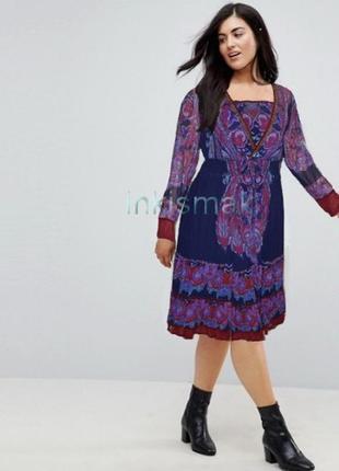 Брендовое темно-синее шифоновое нарядное макси платье плиссе joe browns индия бисер