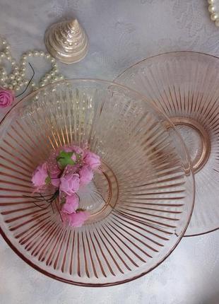 Пара салатников конфетница фруктовница ссср винтаж карамельное цветное стекло