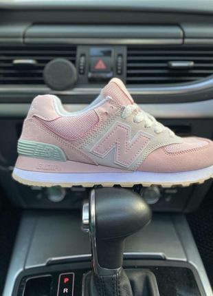 Замшевые женские кроссовки new balance 574 в розовом цвете (36-40)😍