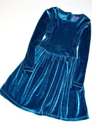 F&f. красивое велюровое платье малахитового цвета. 2-3 года. рост 92-98 см.