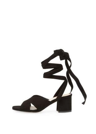 Charles david оригинал стильные черные замшевые босоножки на завязках