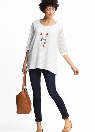 Кофточка xs s блуза блузка c&a летняя белая ажурная кружевная футболка на подкладке