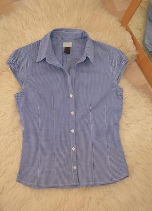 Рубашка женская классическая голубая в клеточку h&m, размер 38