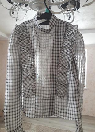 Блуза рубашка клеточка