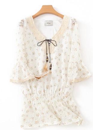 Ажурная белая блуза ventviolet