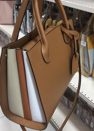 Базовая деловая сумка в красивых нейтральных оттенках из натуральной кожи италия