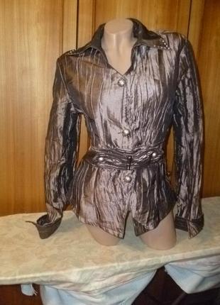 Легкая куртка-ветровка вeautiful мisses женская жатка блестящая бронзовая