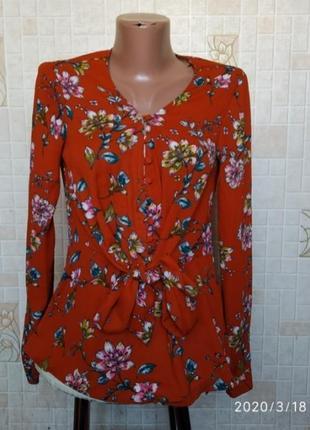 Блуза цвета терракот в цветочный принт 145