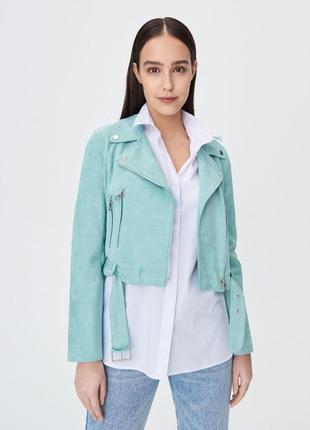 Косуха кожанка укороченная куртка мятная замшевая жакет пиджак