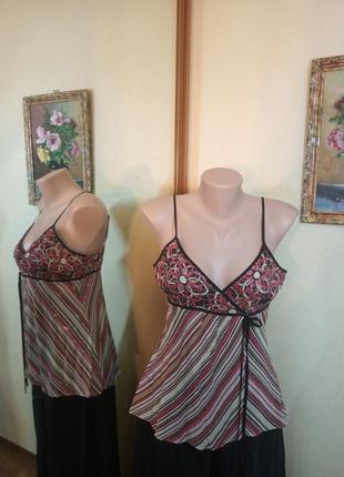 Летняя майка блуза топ шелк  love rosa