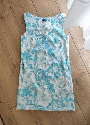 Свободное платье с цветочным бирюзовым принтом размер м