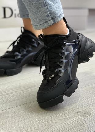 Шикарные женские кроссовки dior d-connect black / натуральные материалы