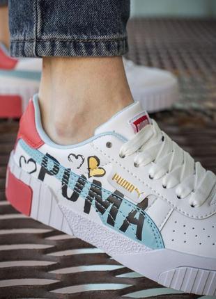 Puma cali white big logo белые ⭕ женские кроссовки ⭕ наложенный платёж