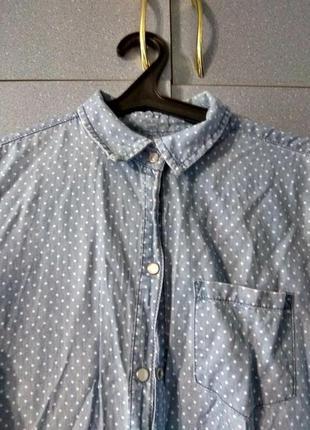Джинсовое платье рубашка в горошек с длинным руковом