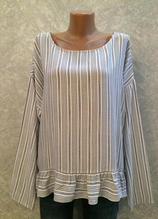 Блуза в полоску с рюшей по низу marks&spencer