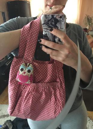 Великолепная розовая сумка в горошек с совой accessories