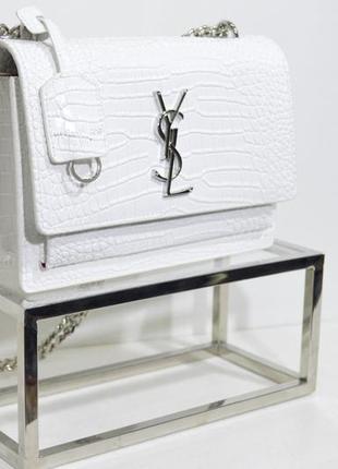Женская кожаная сумка в стиле yves saint laurent ив сен лоран белая под рептилию1 фото
