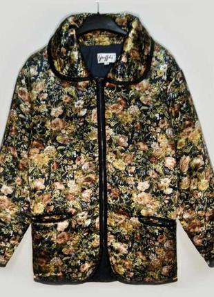 Стильная весенняя легкая атласная куртка бомбер на молнии,ветровка в цветы