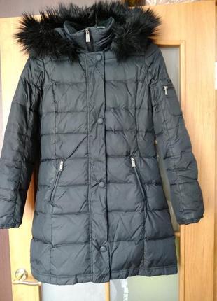 Очень теплый пуховик пальто на пуху зима