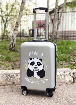 Cупер цена! весеный чемодан пластиковый с пандой / валіза пластикова з пандою