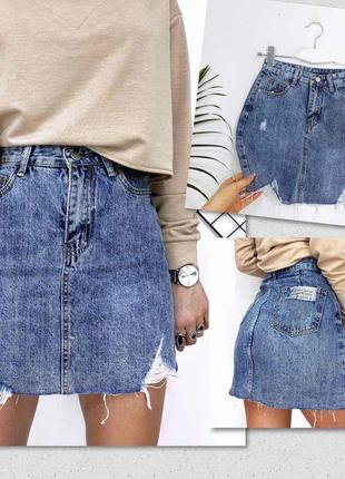Кайфовая💫💙💫 джинсовая юбка, рванка, необработанный край
