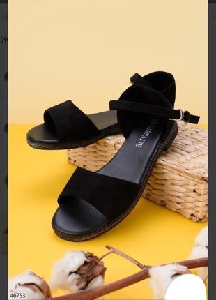 Черные замшевые босоножки сандалии на плоской подошве низкий ход