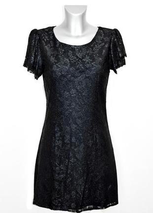 Черное гипюровое платье  kor@kor. код п35121