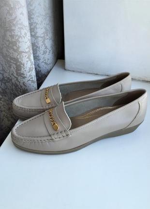 Кожаные туфли 41 р. лоферы, мокасины натуральная кожа, marks & spencer