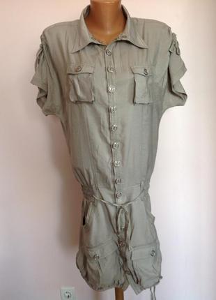 Фирменное серое платье в стиле милитари./m/brend anna scott